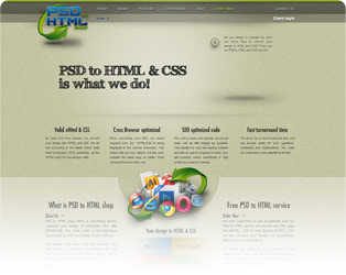 PSD to HTML Shop